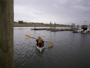 Photo: Gail in her ultralight canoe - this thing is amazing, I can lift it with one hand.