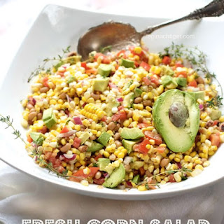 Corn Avocado Salad, Tomato, Black Eyed Peas