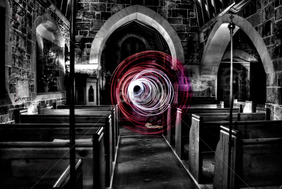 Wormhole by Simon Eastop - Abstract Light Painting ( wormhole, church, mono, light,  )