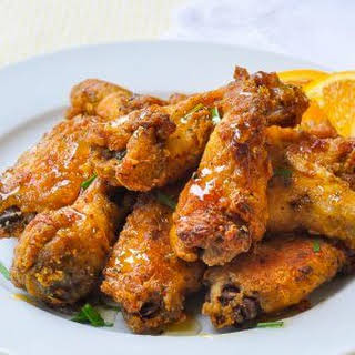 Oven Baked Southern Fried Chicken Wings with Orange Honey Drizzle.