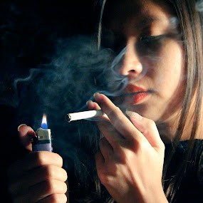 a girl with her cigarette by Isabel Song - People Portraits of Women
