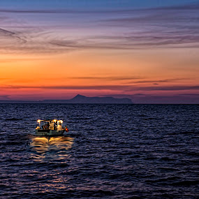 The perks of the job! by Stavros Troullinos - Landscapes Sunsets & Sunrises ( reflection, greece, job, sea, rethymno, crete, seascape, quiet, sunset, peace, desolation, fishing, fisherman,  )