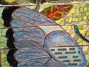Photo: Saturday, July 20, 2013 Hidden Garden Steps ceramic-tile mosaic preview at St. John of God community hall in San Francisco's Inner Sunset District: Detail of butterfly on the fourth large flight of stairs from the bottom of the Hidden Garden Steps. Project artists Aileen Barr and Colette Crutcher completed this as part of the 148-step mosaic to be installed on 16th Avenue, between Kirkham and Lawton streets in San Francisco. For more information about the Hidden Garden Steps project, please visit http://hiddengardensteps.org.