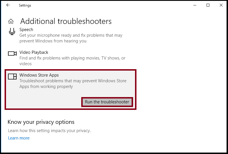 Window store apps troubleshooter