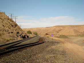 """Photo: A wide angle shot of the """"D"""" switch. Notice the detour in the rails, going nowhere. Also, observe how the rails are broken in the detour. This was the place of an old station long ago and these are probably remnants of those time. The switch, however, seems to be still in operation."""