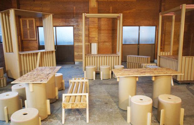 完成した〈プレイスメイキングキット〉のラインナップ。屋台、ベンチ、テーブル、可動いす、3人がけベンチなど。