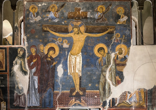 Crucifixion, fresco; The Church of the Holy Virgin, Studenica Monastery