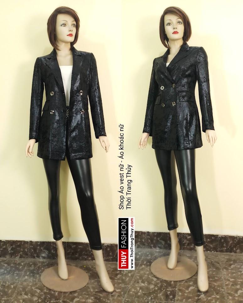 Áo vest nữ vải nhung ép da V667 tại Sài Gòn
