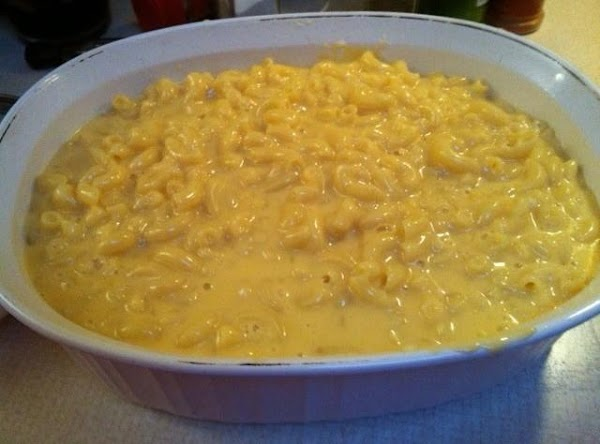 Combine cheese mixture with cooked macaroni, in 1 1/2 quart casserole.  Bake 30  minutes...