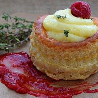 Vol Au Vents with Raspberry Thyme Coulis.