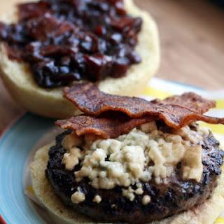 Smoked Bacon Blue Burger with Caramelized Onion Tomato Jam