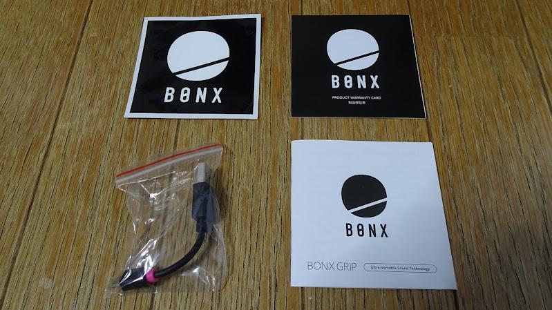 BONX Grip ステッカー、説明書、充電ケーブル