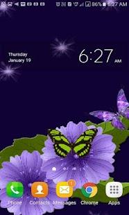 Blue Flower Butterflies LWP - náhled