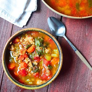 Pressure Cooker Lentil and Sausage Soup.
