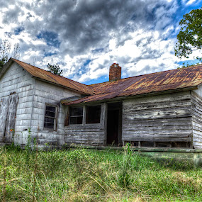 Creepy and Abandoned (HDR) by Cody Miller - Buildings & Architecture Other Exteriors ( clouds, creepy, detail, wood, hdr, grass, house, field, grunge, sky, color, trees, abandoned,  )
