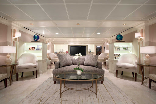 Passengers staying in Concierge level staterooms can enjoy the classy Concierge Lounge.