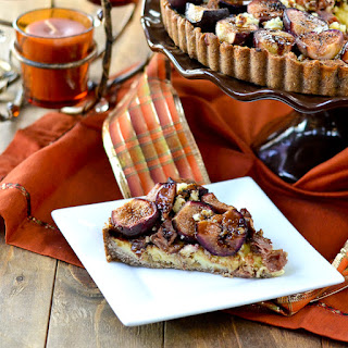 Stilton, Roasted Fig and Prosciutto Tart in a Pecan Crust