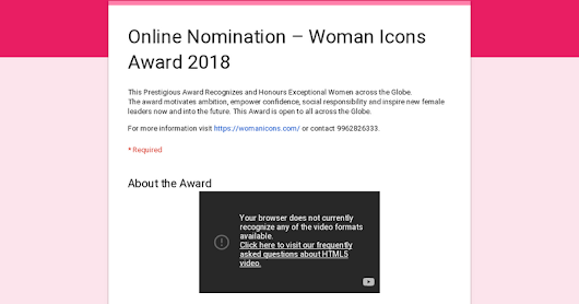 Online Nomination – Woman Icons Award 2018