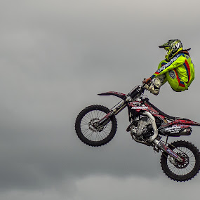 Extreme stunt! by Karen Buttery - Sports & Fitness Motorsports ( extreme, detail, motorbike, show, stunt )