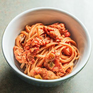 Spicy Linguine with Sausage in a Rose Sauce.