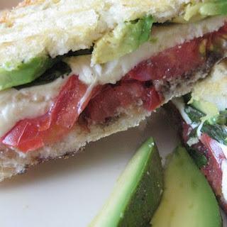 Pressed Mozzarella, Tomato and Fresh Basil Sandwich.