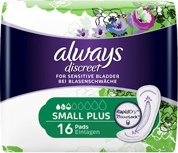 Always Discreet Incontinence Pads Small Plus for Sensitive Bladder