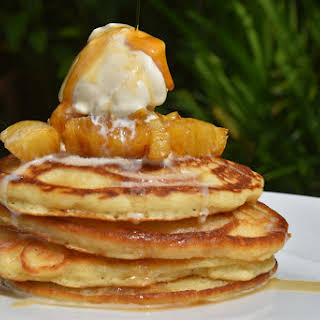 Fluffy Coconut Pancakes with Caramelized Pineapple.