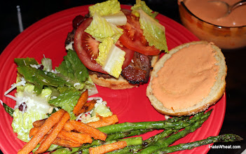 Photo: The whole meal!  Grassfed burger with swiss, grilled bacon, tomato, lettuce, GF bun, and Sirracha mayo.  Great salad, sweet potato fries, and grilled asparagus to round things out.  And don't forget the cider!