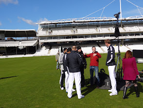 Photo: Broady, Bopara and Prior are given instructions what they have to do...
