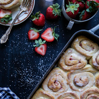 Easy Strawberry Cinnamon Rolls with Rosé Icing.