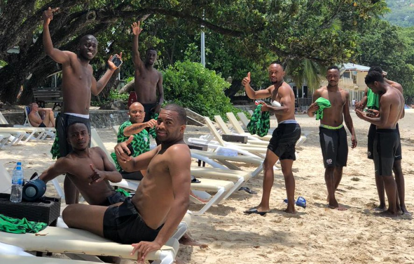 Relaxing Bafana Bafana at the beach in Seychelles ahead of their second leg match 2019 Africa Cup of Nations qualifier.