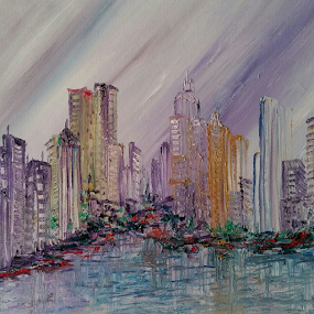 Purple Rain by Rhonda Lee - Painting All Painting ( abstract, unique, purple, art, painting, city )