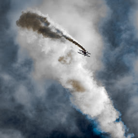 Dramatic Flight by Andy Smith - Uncategorized All Uncategorized ( clouds, flight, plane, silhouette, dramatic, smoke,  )