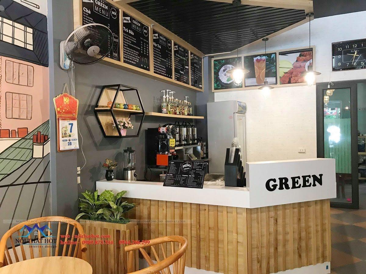 thiết kế quán trà sữa green 15