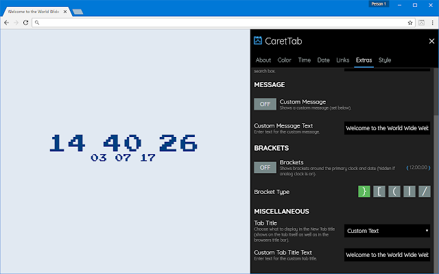 Inspired Carettab New Tab Clock And Date Extore Space Perfect tool for current time displaying on your computer, tablet or smartphone. extore space