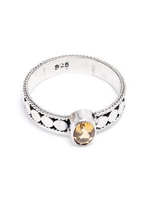 Citrin, silverring med filigranband