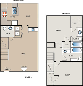 Go to Two Bedroom Townhome B Floorplan page.