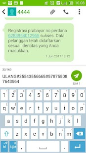 Registrasi Simcard (shortcut sms ke 4444) - náhled