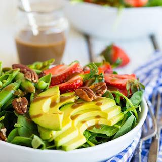 Strawberry, Avocado & Sweet Pea Salad with Balsamic Tahini Dressing