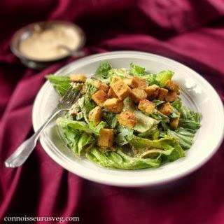 Vegan Tahini Caesar with Lemon Garlic Tempeh Croutons Recipe