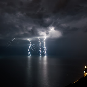 Storm at night by Matic Cankar - Landscapes Weather ( lightning, sea, night, storm, italy,  )