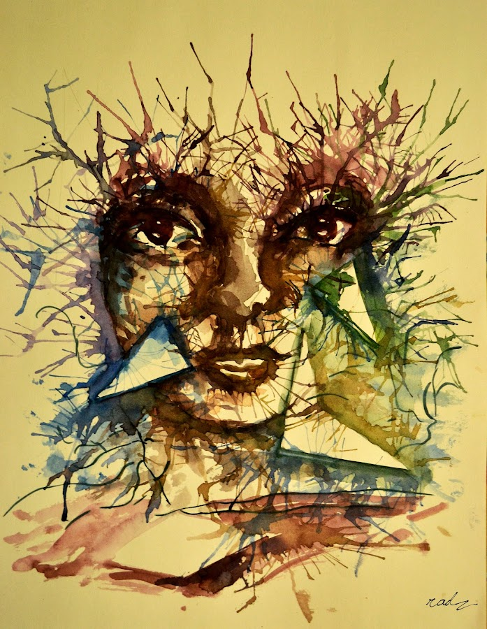 geometry in chaos. by Radhika Ravindran - Painting All Painting ( abstract, face, chaos, water colour, stare, paint, geometry, eyes )
