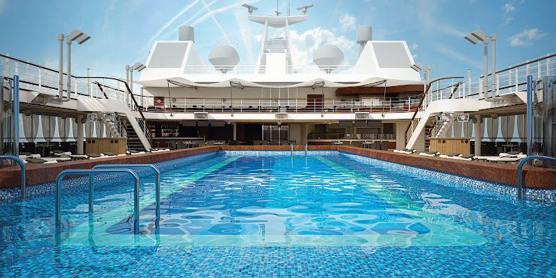 Enjoy the warm sun and the cool water of the main pool deck on Silver Muse.