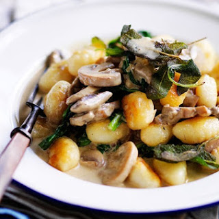 Mushroom Sauce With Crispy Gnocchi.