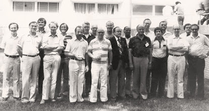 Photo: AAPM Summer School Faculty, 1979. Rodney Shaw comments: As teenagers (well, not too long afterwards!), Bob, second from left, Rodney, fourth from left, in a group faculty picture taken at the 1979 AAPM Summer School in Medical Physics, University of North Carolina, Chapel Hill - RS