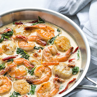 Creamy Tuscan Shrimp and Scallops Recipe