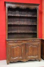 Photo: Code 3764. Large Oak, Louis XV style Dresser/ buffet with orrnate moulding to the hutch, 248cm high x 150cm wide x 63cm deep. circa 1850.SOLD