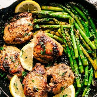 Lemon Garlic Butter Herb Chicken with Asparagus.