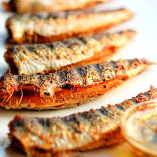 Grilled Sardines with Tarragon-Garlic-Lemon-Chile Butter