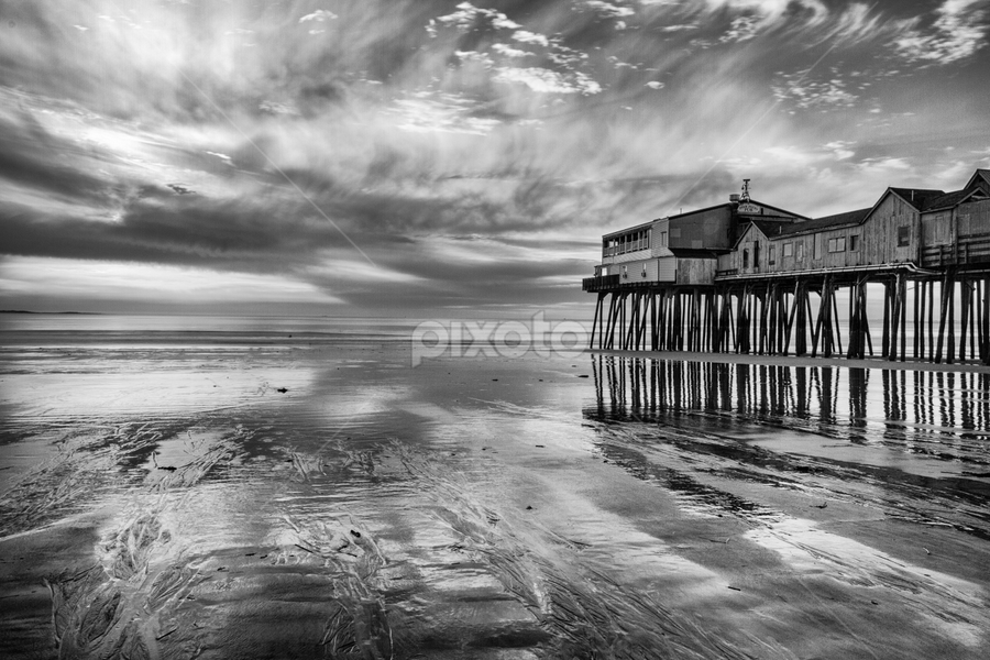 Old Orchard Beach Pier at Sunrise by Tom Whitney - Black & White Landscapes ( old orchard beach, b&w, dawn, north america, maine, black and white, pwcfoulweather, pwcreflections, pier, sunrise, places, usa, , landscape )
